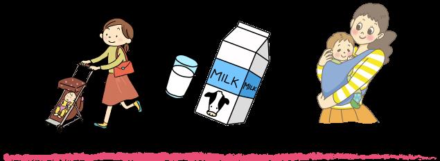 ベビーカー、ミルク、赤ちゃんとお母さん